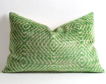 Green Ikat Pillowcase - Silk Velvet Ikat Pillow Large Pillow Cover Decorative Throw Pillows Ikat Cushion Green Velvet Pillow Throw Cushion