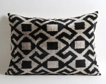 Throw pillows black and white Velvet Ikat Pillow Cover tribal cushion geometric pillow designer cushion livingroom decorating