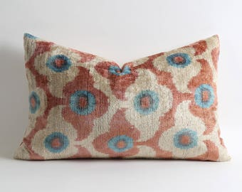 Best quality 14x22 silk velvet ikat pillow cover, handwoven hand dyed