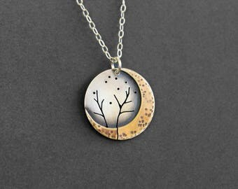 Handmade Moon Tree Necklace - Mixed Metal - Silver Brass Necklace - Tree Necklace - Moon Necklace
