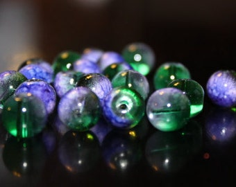20 glass beads, 10 mm, round and smooth, transparent baking painted, hole 1 mm, green and purple