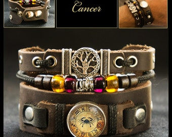 Horoscope Zodiac Cancer Bracelet with Tree of Life Symbol