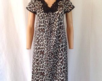 SALE! 1960's Vanity Fair Leopard Print Nylon Nightgown Sz. S