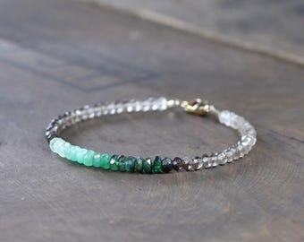 Ombre Smoky Quartz & Emerald Bracelet, Sterling Silver or Gold Filled, Natural Brown Green Gemstone Bracelet, Faceted Gemstone Crystal Beads