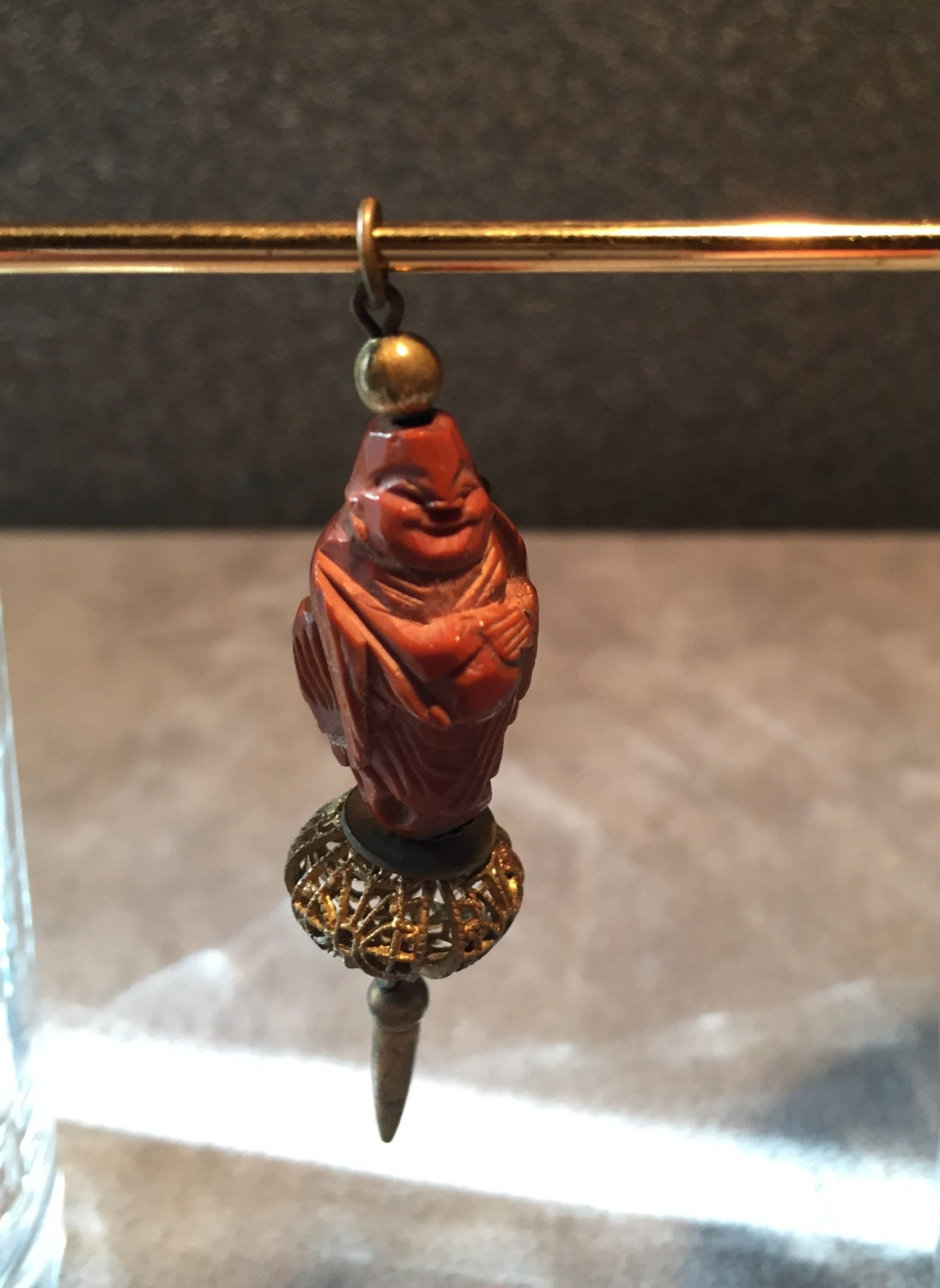 Vintage chinese hediao carved smiling buddha peach pit or