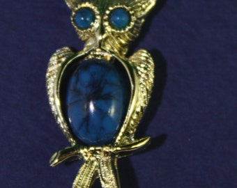 Vintage blue turquoise Jelly Bean Owl brooch