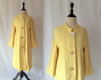 1960s lemon linen swing coat