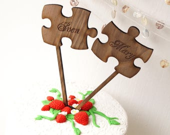 Puzzle Cake Topper, Rustic Wedding Cake Toppers, Puzzle Pieces Cake Topper, Personalized Cake Topper, Luxury Walnut Wood