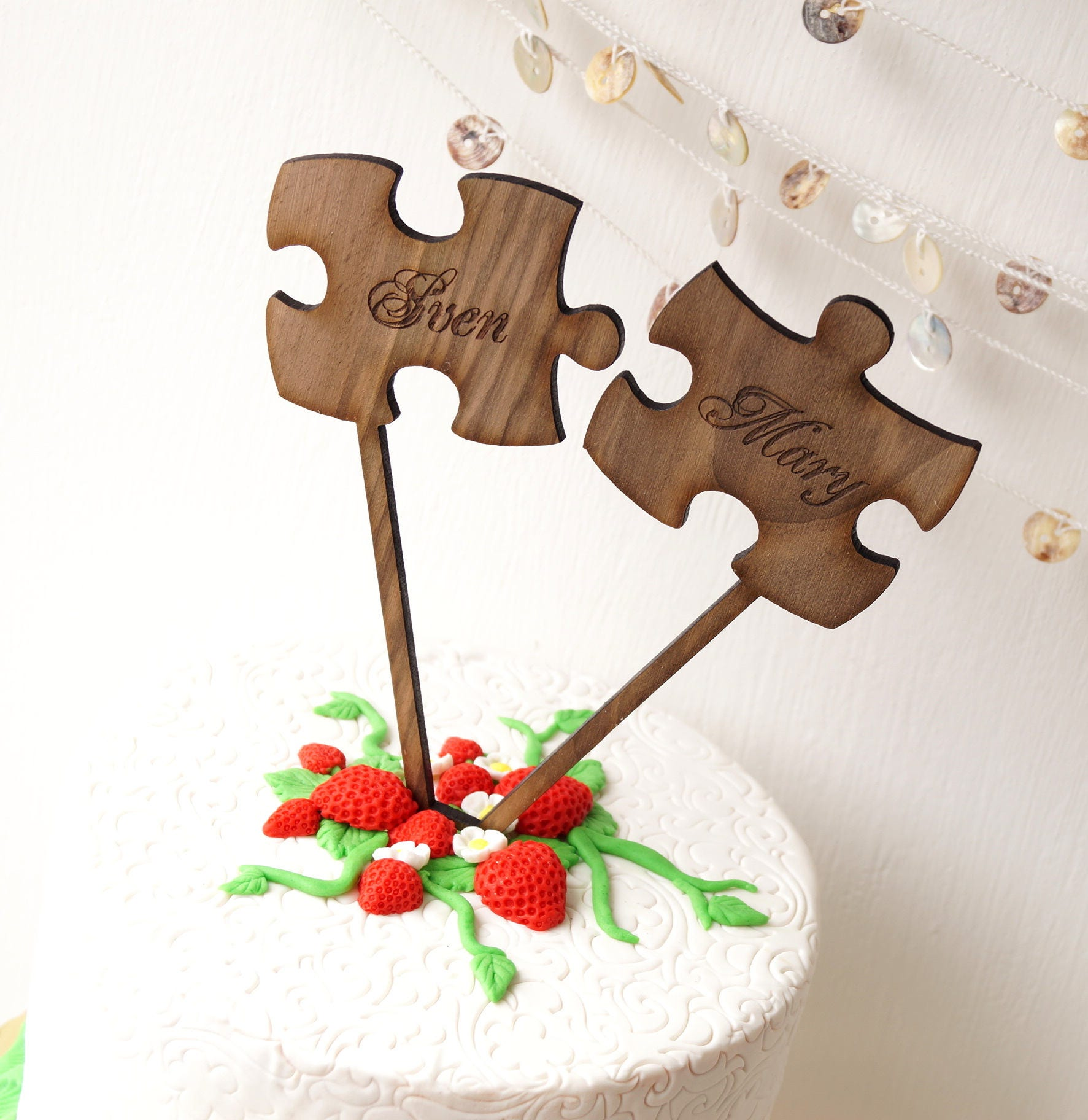 Puzzle Cake Topper Rustic Wedding Cake Toppers Puzzle Pieces