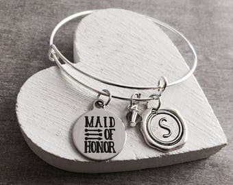 Maid of Honor, Silver Jewelry, Maid of Honor Bracelet, Silver Bracelet, Charm Bracelet, Customized, Personalized, Gifts for, Will you be my