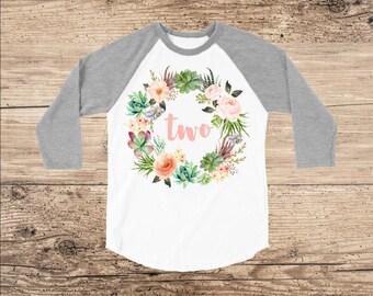 Two Year Old Birthday Shirt, Personalized Wreath on Grey Raglan