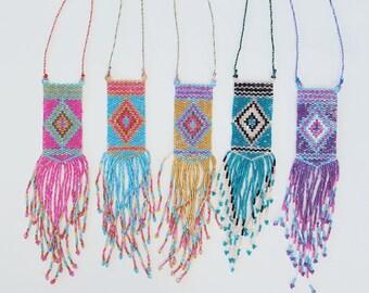Beaded tribal fringe necklace -  Boho style seed bead necklace , tribal fringe beaded pendant