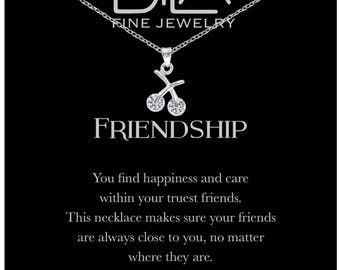DTLA Friendship Necklace in Sterling Silver with Inspirational Quote Card - Clear CZ