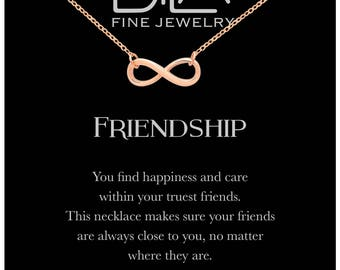 DTLA Friendship Infinity Necklace in Sterling Silver with Inspirational Quote Card - Rose Gold Plated Silver