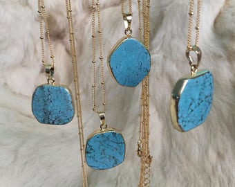 Turquoise Pendant Necklace Long Gold Turquoise Stone Jewelry Electroplated Gold Turquoise Pendant Connector  slice Turquoise Jewelry Gold