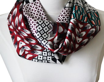 Snood printed, handmade in lyon, 100% high quality silk,