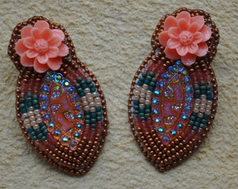 Peach & Copper Beaded earrings