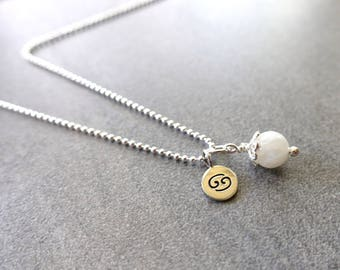 Cancer Zodiac Necklace, Sterling Silver, Cancer Charm, Moonstone, Cancer Jewelry, Cancer Jewellery, Zodiac Jewelry, Zodiac Jewellery