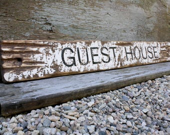 "Wood Guest House Sign Rustic Distressed 36"" Sign Rustic Decor Beach Decor"