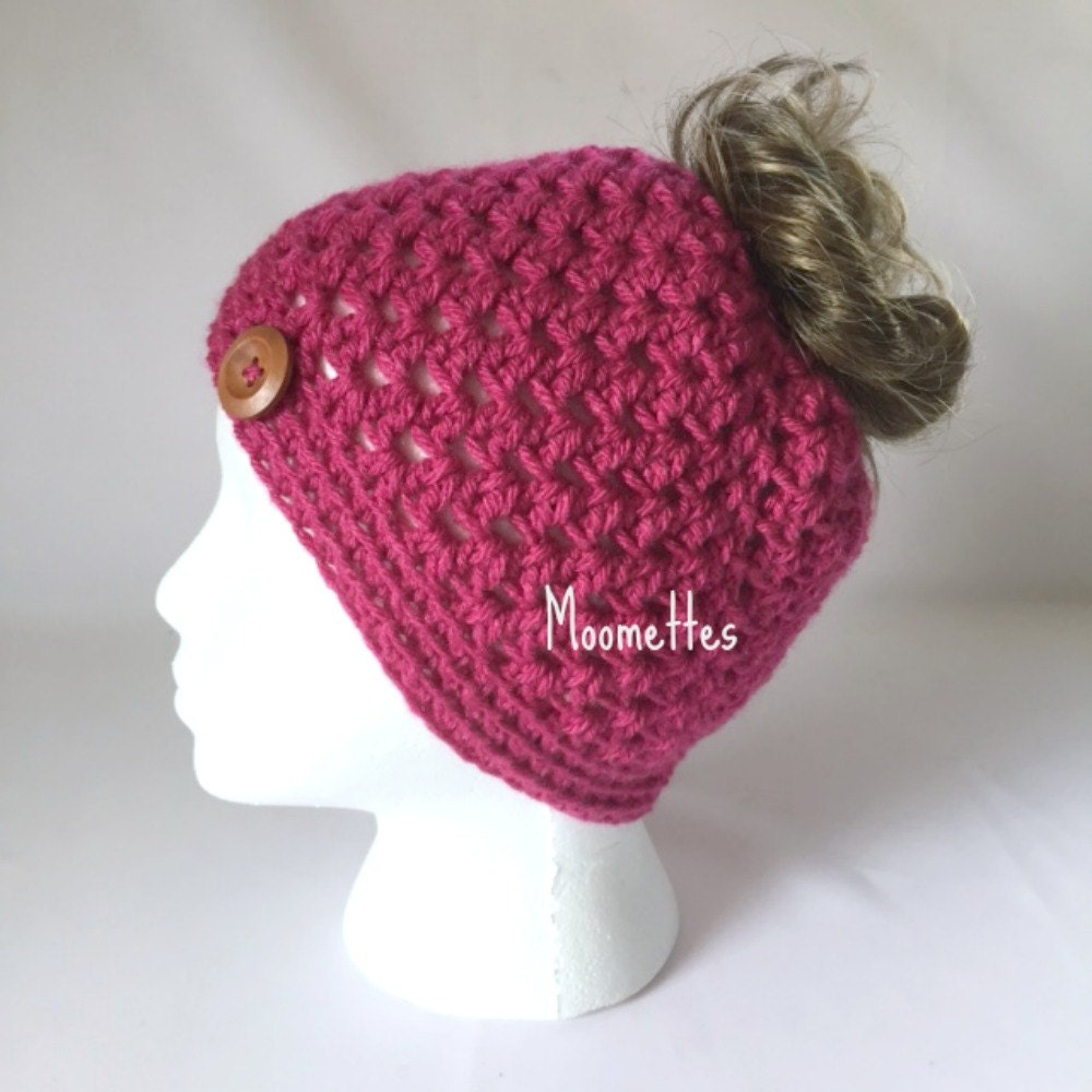 Crochet Messy Bun Hat : Crochet Handmade Messy Bun Hat Raspberry Pink by MoomettesCrochet
