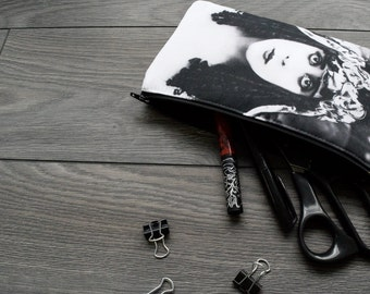 theda bara - lined twill pencil case - double sided print -  cleopatra