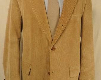 Reichardt's Solid Tan Corduroy 3/2 Roll Sport Coat Men's Size: 42R