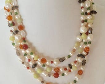 Multicolored pearls and stones necklace June's birthstone