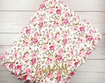 Personalized Baby Blanket Baby Minky Blanket Newborn Baby Blanket Baby Shower Gift Stroller Blanket Infant Blanket Pink Baby Girl Blanket