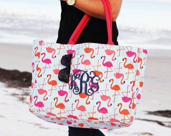 Monogrammed Flamingo Open Tote | Personalized Daytripper Tote