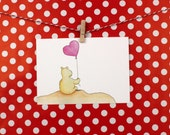 A6 postcard heart balloon...