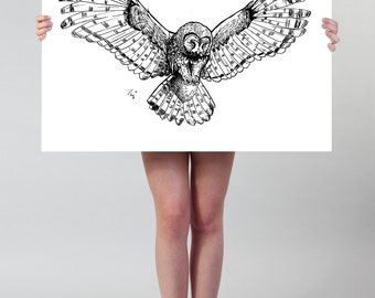 large wall art owl drawing art print animal ink drawing flying owl poster