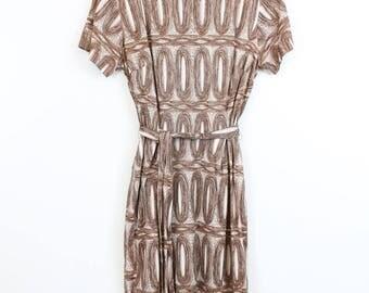 1960s WOOD PRINT DRESS Lady Carol New York Shift Dress Small Medium Dress 1960s Vintage Dress
