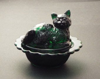 Cat on Nest Salt Dip Hunter Green Glass Kitty - Trinket Dish - Salt Cellar