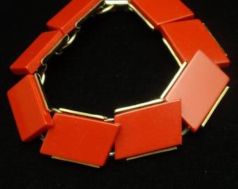 Red Panel Bracelet Vintage