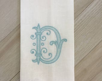 Embroidered Linen Tea Towel, Kitchen Towel with Chaplet Font.  Fine Linen Dish Towel.  Home Decor.  Hostess Gift.  Christmas Present.