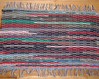 Rag Rug, Hit or Miss with Turquoise (SK073)
