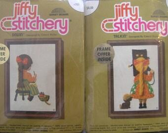 "2 Vintage 1973 Sunset Jiffy Stitchery Needlepoint Kits ""Sewin"" #703 ""Talkin"" #702 Connie Blyler NOS"