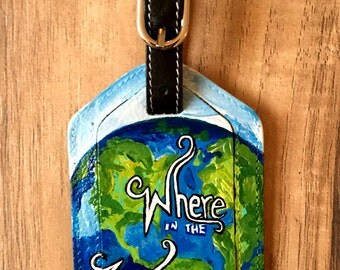 Hand Painted Leather Luggage Tag - Bag Tag - World