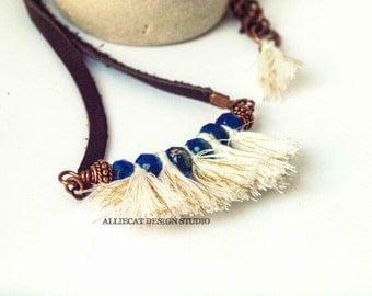 Bohemian Necklace | Boho Necklace | Gypsy Blue White Tassel Necklace