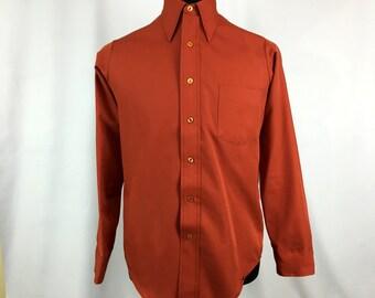 "Vintage 70s Burnt Orange ""Van Lustre"" Button-Down Shirt by Van Heusen MEDIUM // Long Collar // Disco // Polyester // Pocket Shirt // 1970s"