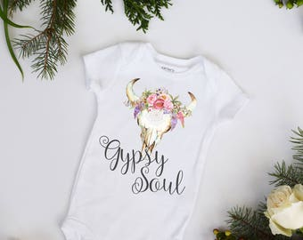 Gypsy Soul Scull Flowers and Feathers Boho Bohemian Girls Bodysuit Boho Baby