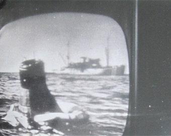 Original 1962 Nasa Space Program Television Snapshot Photo - Splashdown of Lt Col John Glenn - Free Shipping