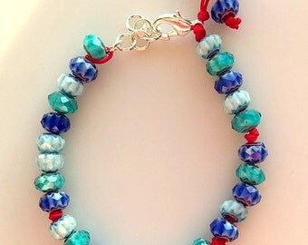 Boho Chic Turquoise Blue and Blue Tone Glass Beads on Red Cord Bracelet - Handmade Multiple Blues Glass Blown Beads Sundance Style Bracelet