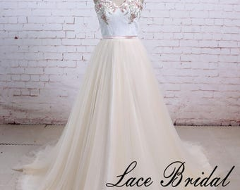 Wedding Dress, Cream Tulle Wedding dress, Ivory Wedding Dress, Lace Wedding Dress, Bridal Gown with Sweetheart Neckline