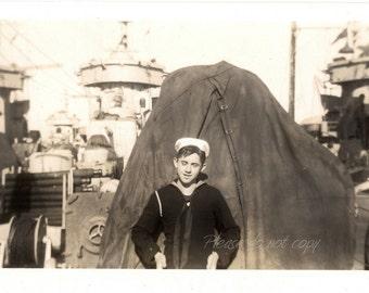 Handsome teenage WWII Navy Sailor Boy ~  Vintage Snapshot Photo