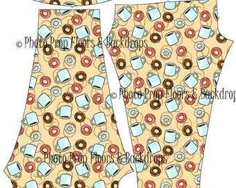 Coffee & Donuts Leggings, Spandex, Yoga Pants, Java, latte, frappuccino, frappe, cappuccino, Mocha, beans, drink, Starbucks XS-XL-Coffee3