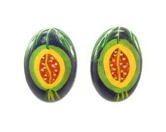 Vintage Papaya Earrings, Hand Painted, Balsa Wood, Posts