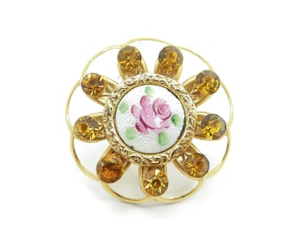 Vintage Guilloche Brooch, Pink Rose, Amber Rhinestones, Gold Tone