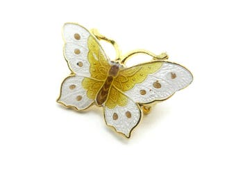 Vintage Enamel Butterfly Brooch, Yellow and White, Cloisonne, Gold Tone
