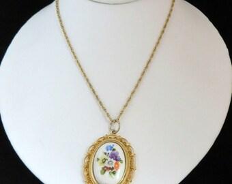 Italy Cameo Pendant, Vintage Porcelain Oval Flower, Gold Tone Pendant Necklace
